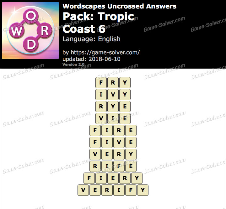Wordscapes Uncrossed Tropic-Coast 6 Answers