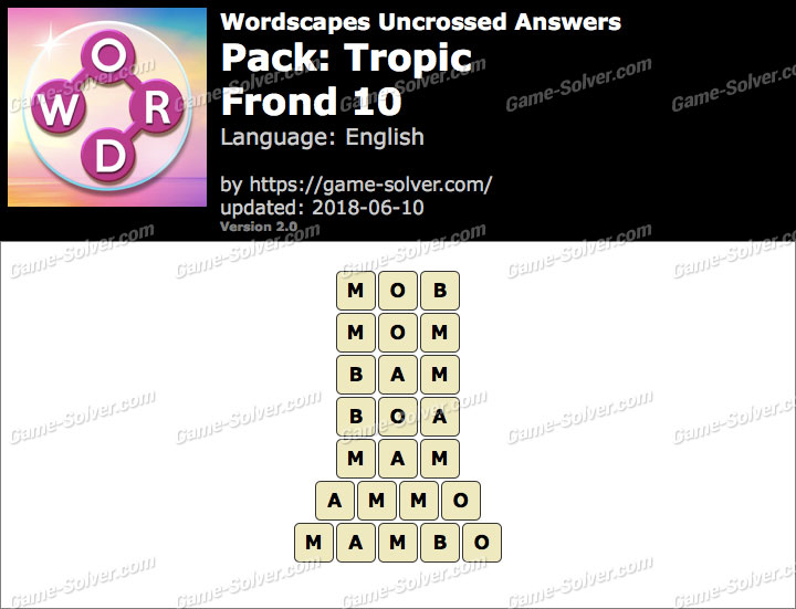 Wordscapes Uncrossed Tropic-Frond 10 Answers