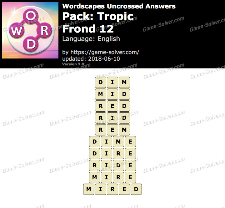 Wordscapes Uncrossed Tropic-Frond 12 Answers