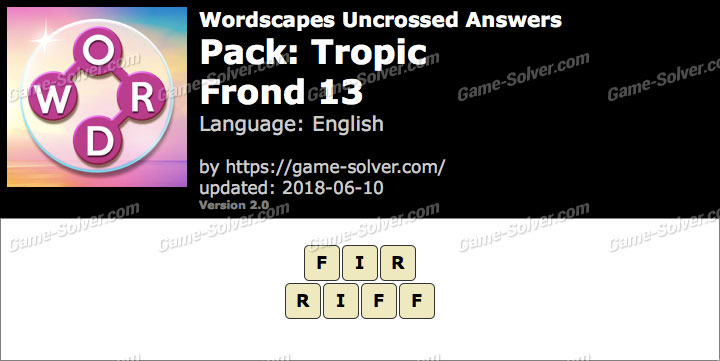 Wordscapes Uncrossed Tropic-Frond 13 Answers