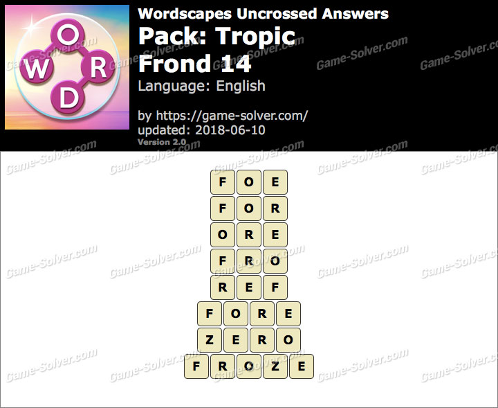 Wordscapes Uncrossed Tropic-Frond 14 Answers
