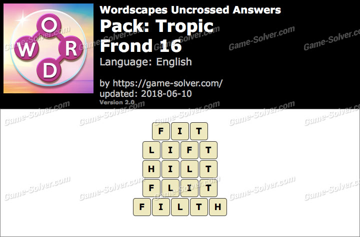 Wordscapes Uncrossed Tropic-Frond 16 Answers