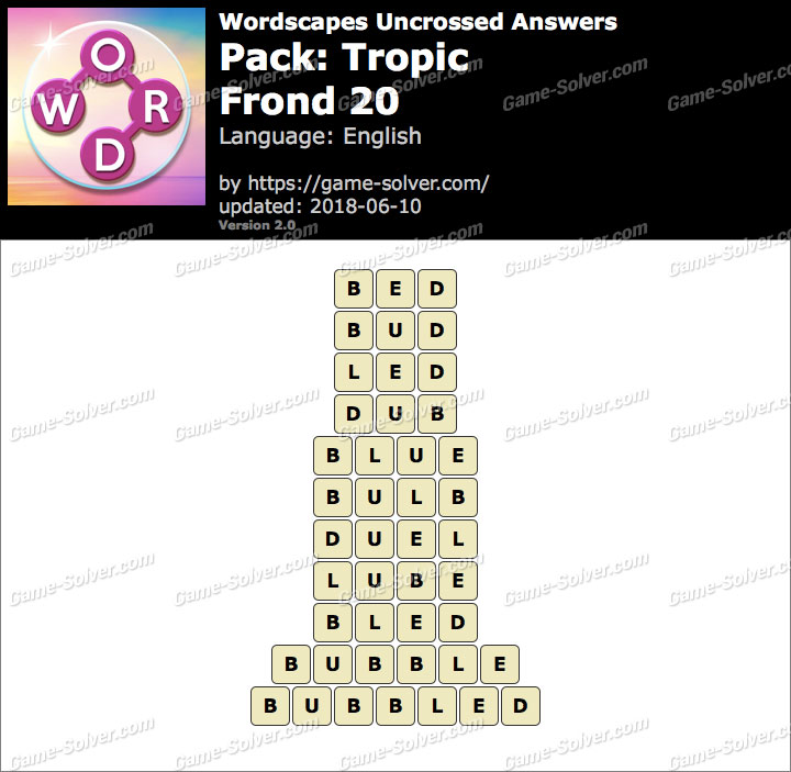 Wordscapes Uncrossed Tropic-Frond 20 Answers
