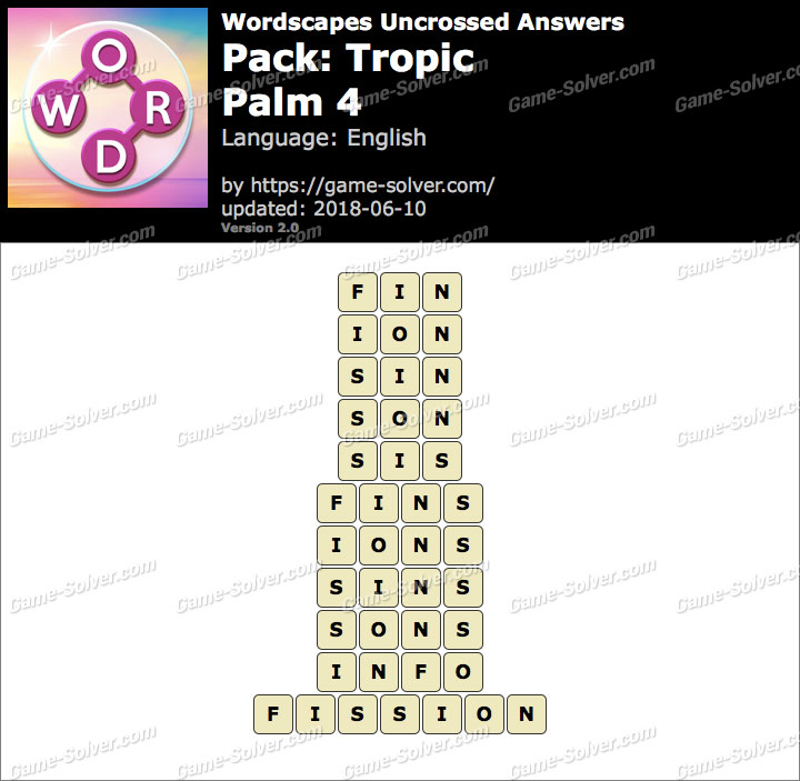 Wordscapes Uncrossed Tropic-Palm 4 Answers