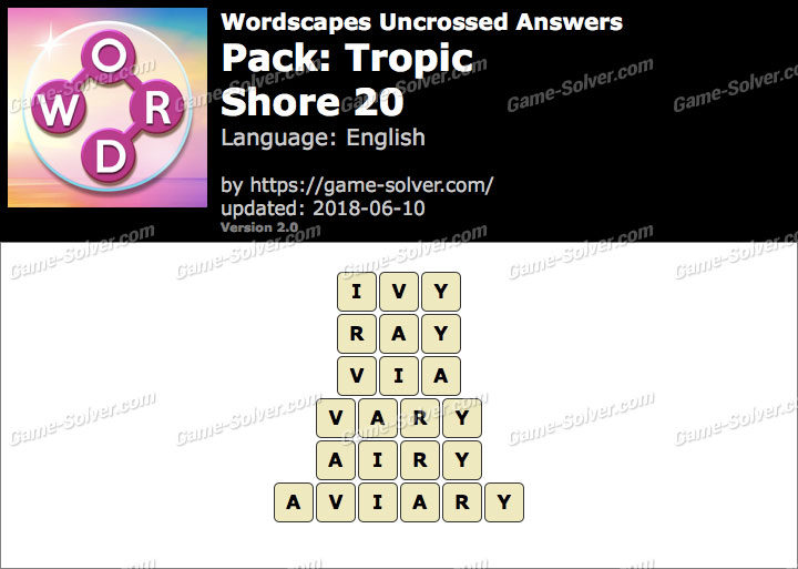 Wordscapes Uncrossed Tropic-Shore 20 Answers