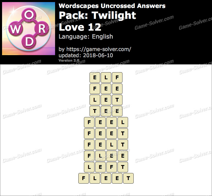 Wordscapes Uncrossed Twilight-Love 12 Answers