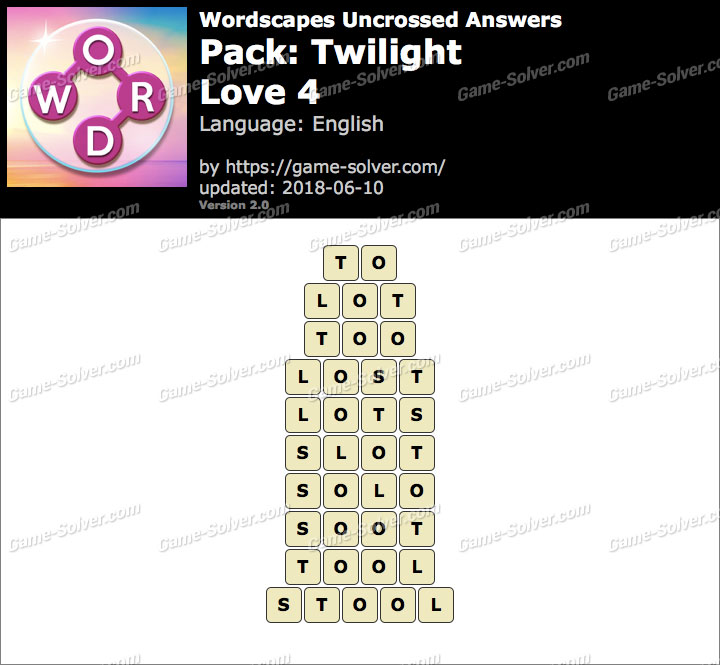 Wordscapes Uncrossed Twilight-Love 4 Answers