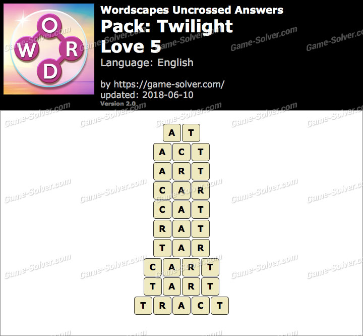 Wordscapes Uncrossed Twilight-Love 5 Answers