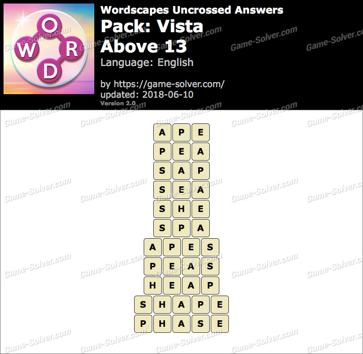 Wordscapes Uncrossed Vista-Above 13 Answers