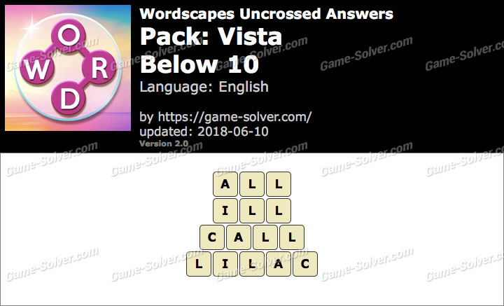 Wordscapes Uncrossed Vista-Below 10 Answers