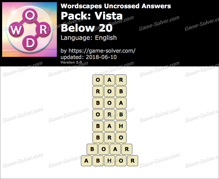Wordscapes Uncrossed Vista-Below 20 Answers