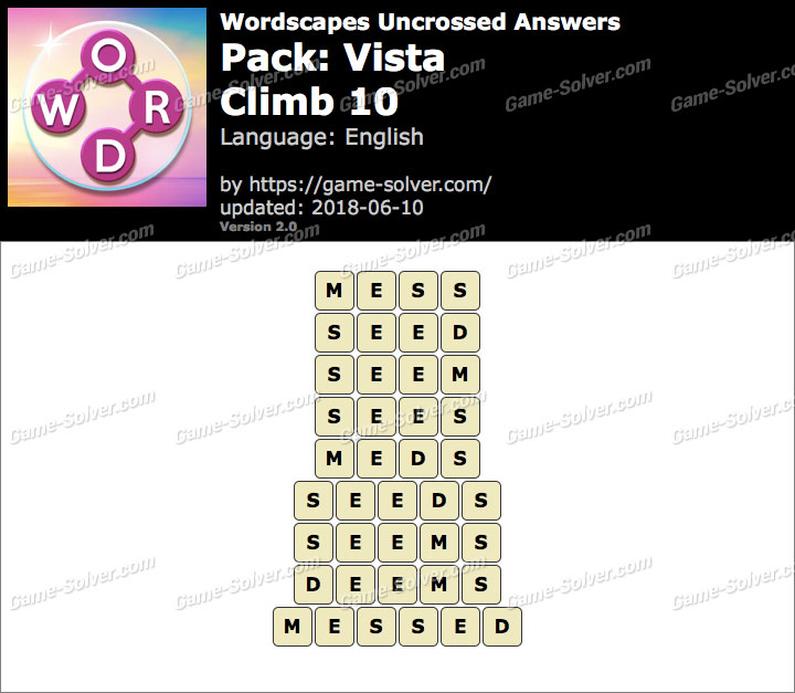 Wordscapes Uncrossed Vista-Climb 10 Answers
