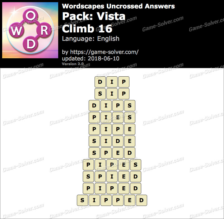 Wordscapes Uncrossed Vista-Climb 16 Answers