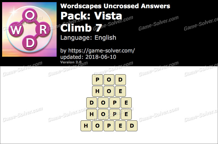 Wordscapes Uncrossed Vista-Climb 7 Answers
