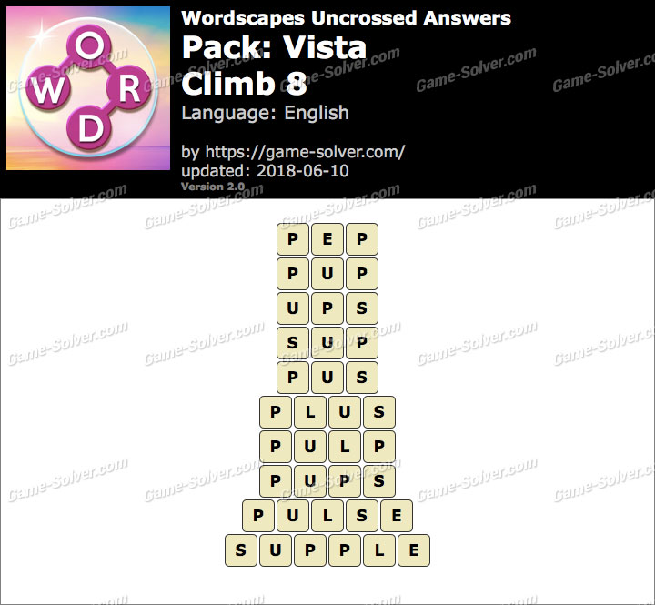 Wordscapes Uncrossed Vista-Climb 8 Answers