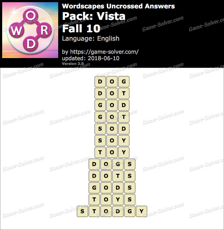 Wordscapes Uncrossed Vista-Fall 10 Answers