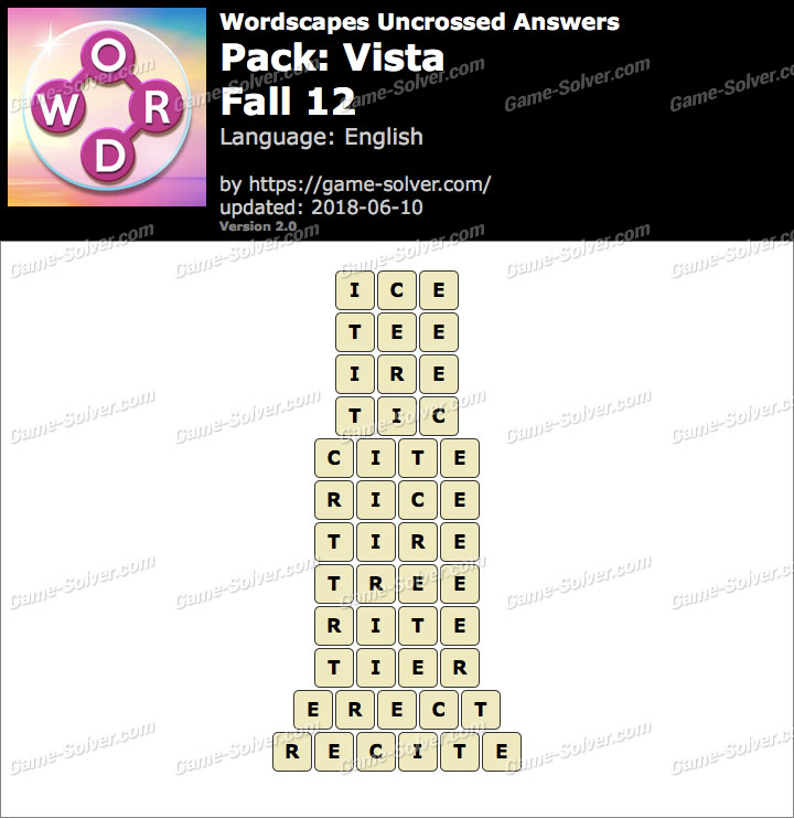 Wordscapes Uncrossed Vista-Fall 12 Answers