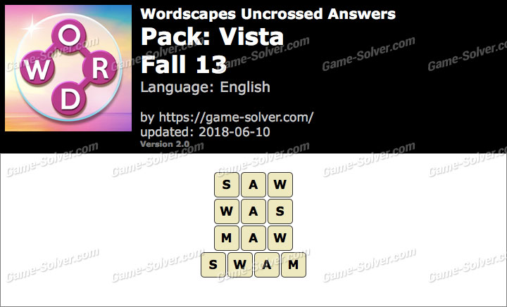 Wordscapes Uncrossed Vista-Fall 13 Answers