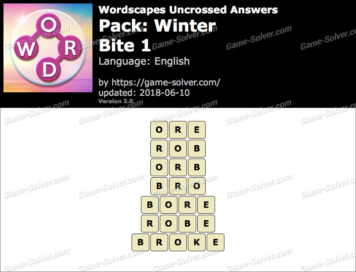 Wordscapes Uncrossed Winter-Bite 1 Answers