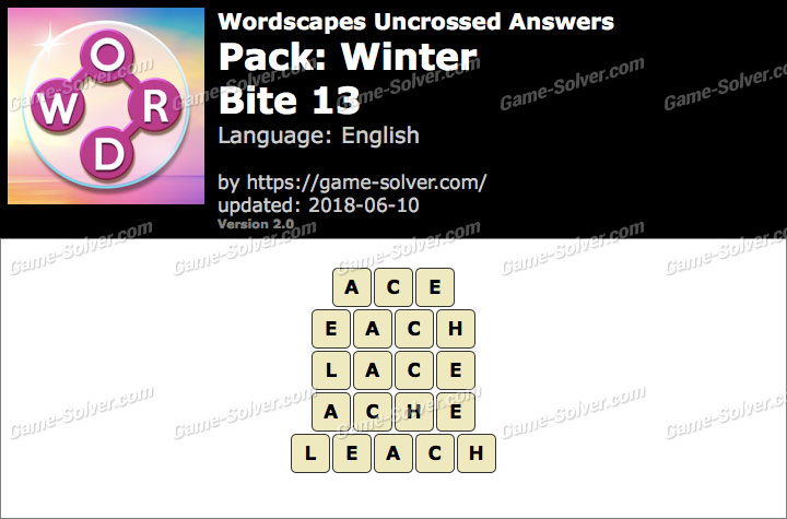 Wordscapes Uncrossed Winter-Bite 13 Answers