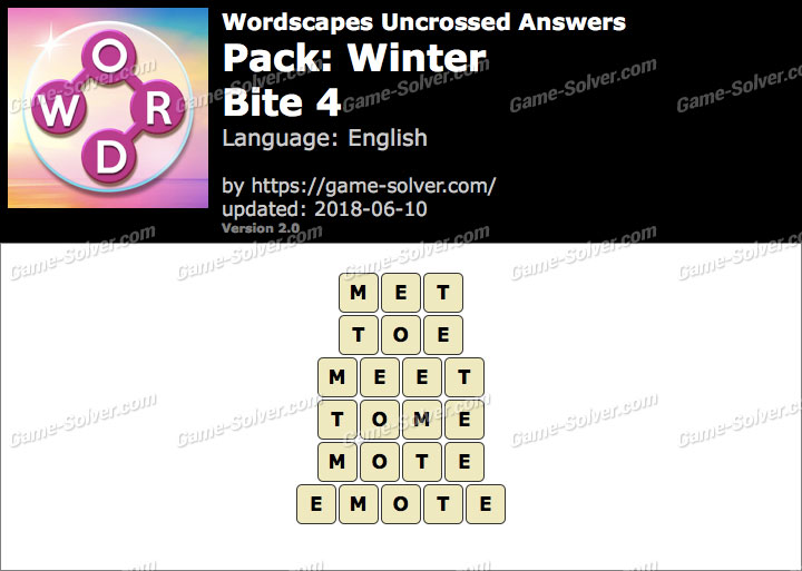 Wordscapes Uncrossed Winter-Bite 4 Answers