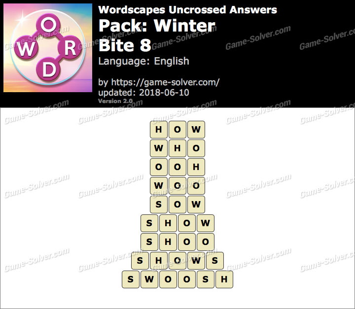 Wordscapes Uncrossed Winter-Bite 8 Answers