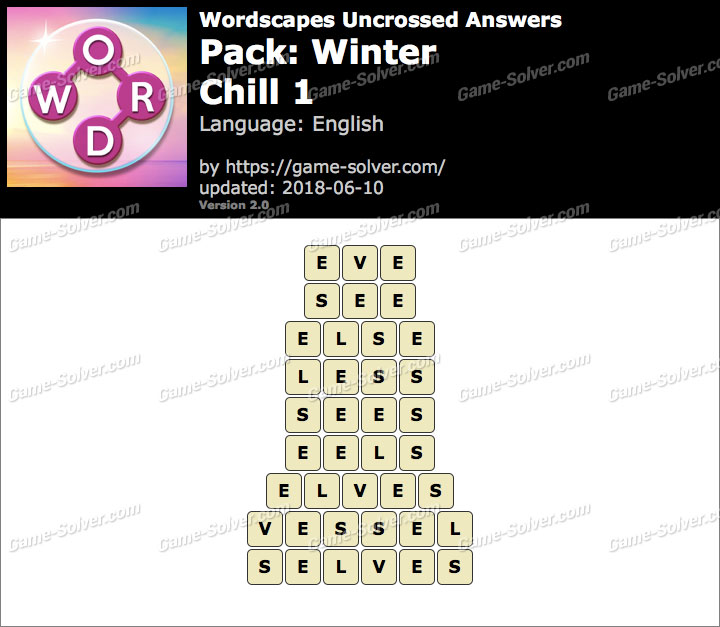 Wordscapes Uncrossed Winter-Chill 1 Answers