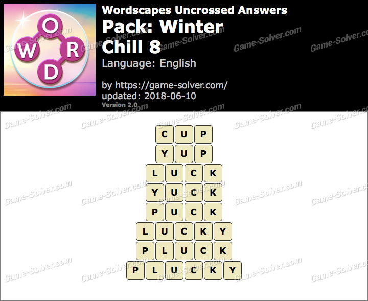 Wordscapes Uncrossed Winter-Chill 8 Answers