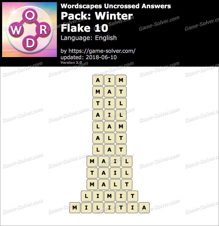 Wordscapes Uncrossed Winter-Flake 10 Answers