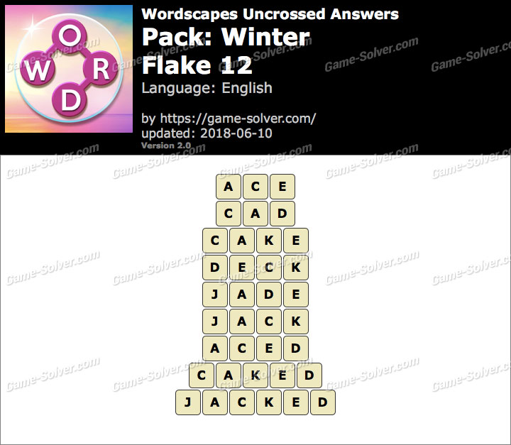 Wordscapes Uncrossed Winter-Flake 12 Answers