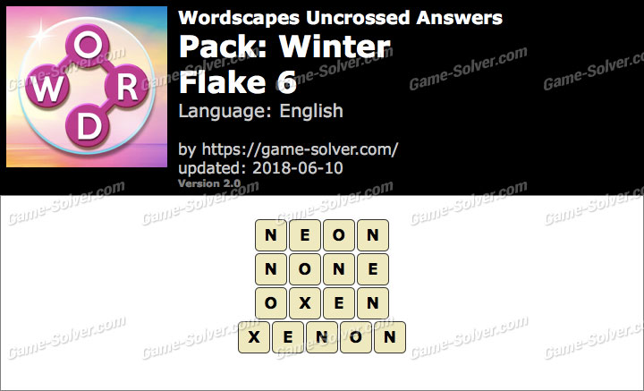 Wordscapes Uncrossed Winter-Flake 6 Answers