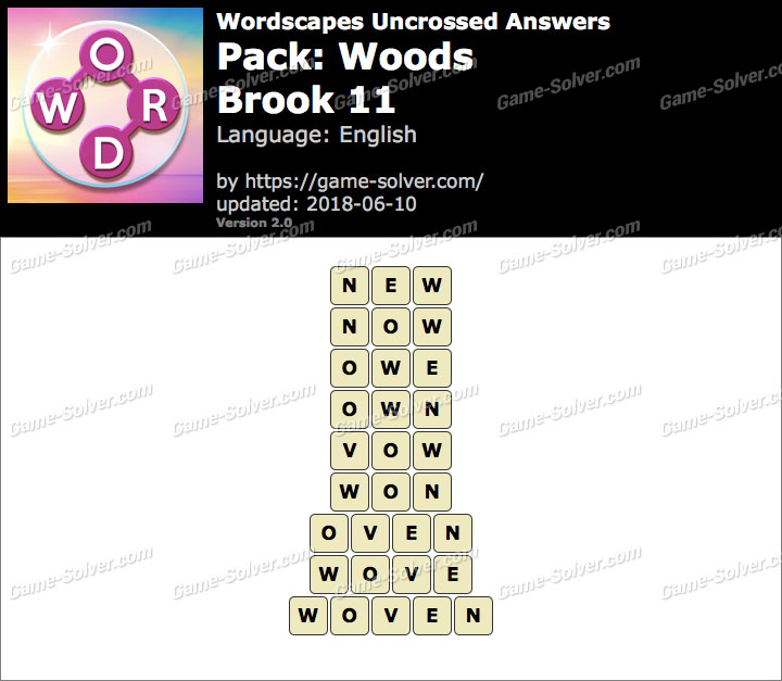 Wordscapes Uncrossed Woods-Brook 11 Answers