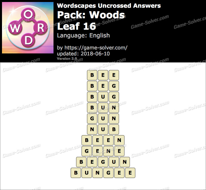 Wordscapes Uncrossed Woods-Leaf 16 Answers