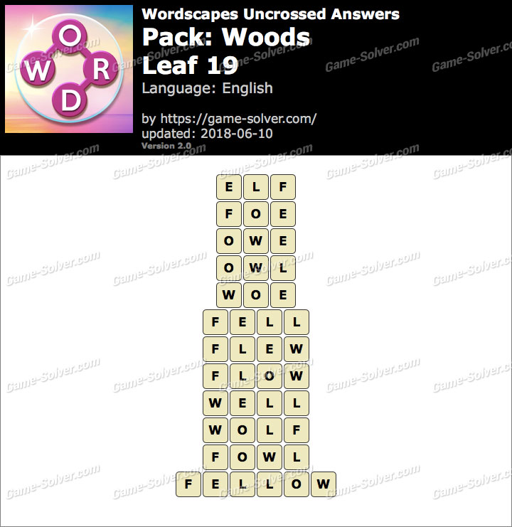 Wordscapes Uncrossed Woods-Leaf 19 Answers