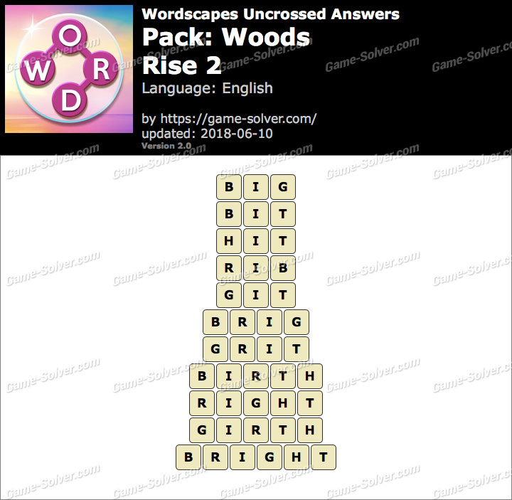 Wordscapes Uncrossed Woods-Rise 2 Answers