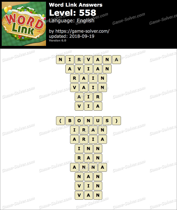 Word Link Level 558 Answers