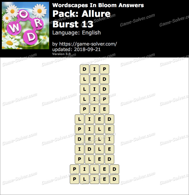 Wordscapes In Bloom Allure-Burst 13 Answers