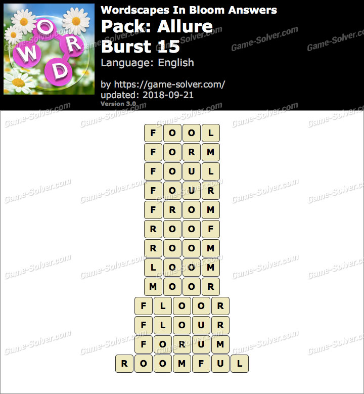 Wordscapes In Bloom Allure-Burst 15 Answers
