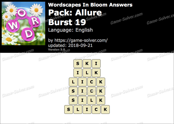 Wordscapes In Bloom Allure-Burst 19 Answers
