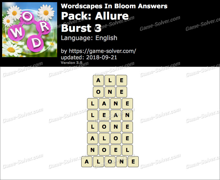 Wordscapes In Bloom Allure-Burst 3 Answers