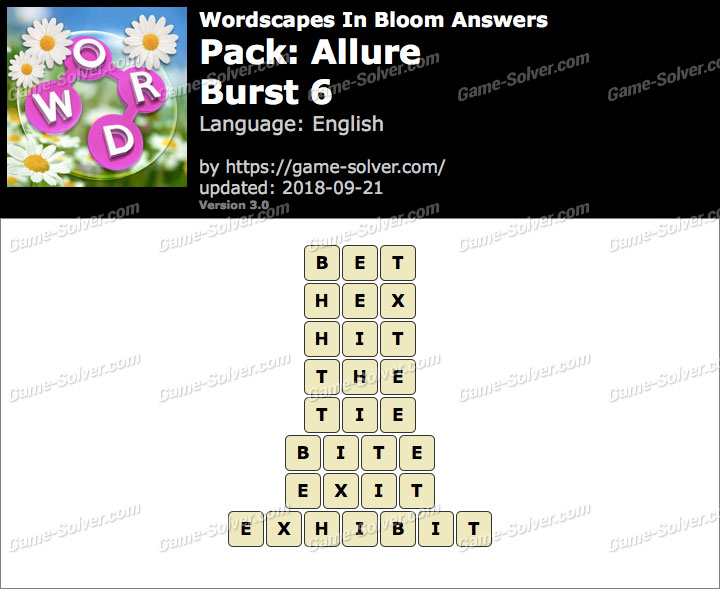Wordscapes In Bloom Allure-Burst 6 Answers