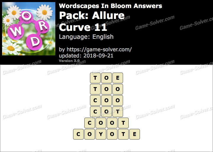 Wordscapes In Bloom Allure-Curve 11 Answers