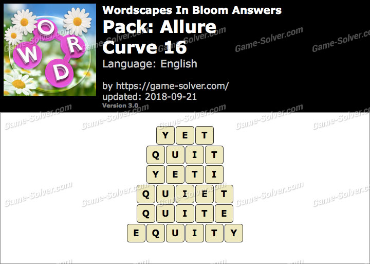 Wordscapes In Bloom Allure-Curve 16 Answers