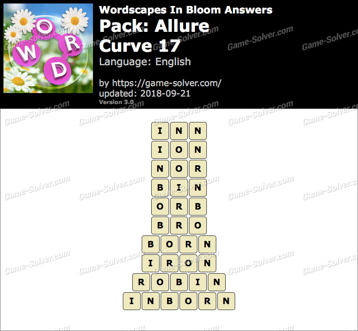 Wordscapes In Bloom Allure-Curve 17 Answers