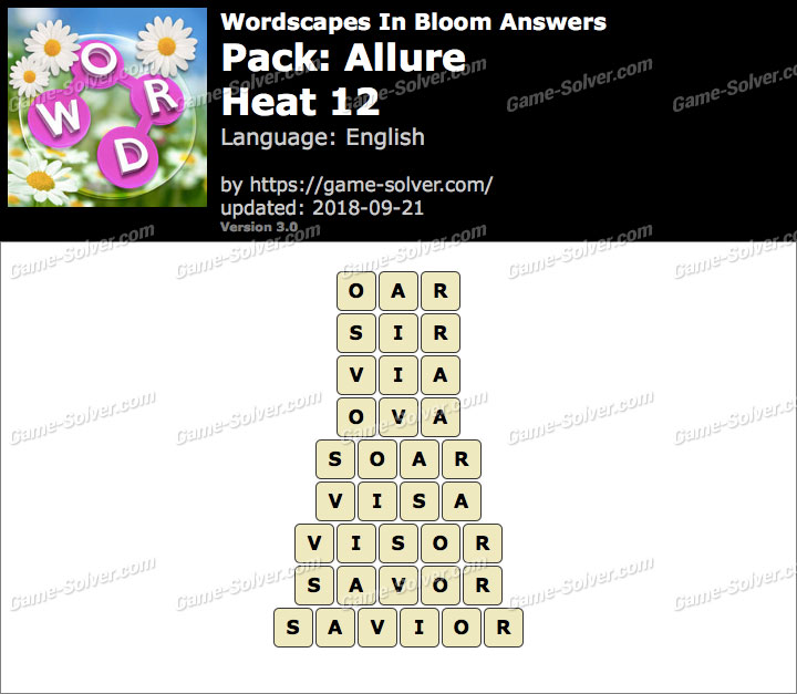 Wordscapes In Bloom Allure-Heat 12 Answers