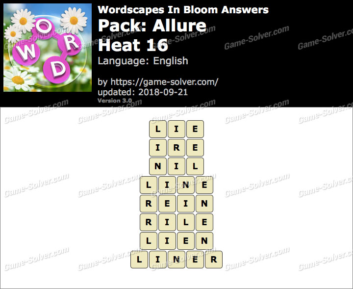 Wordscapes In Bloom Allure-Heat 16 Answers