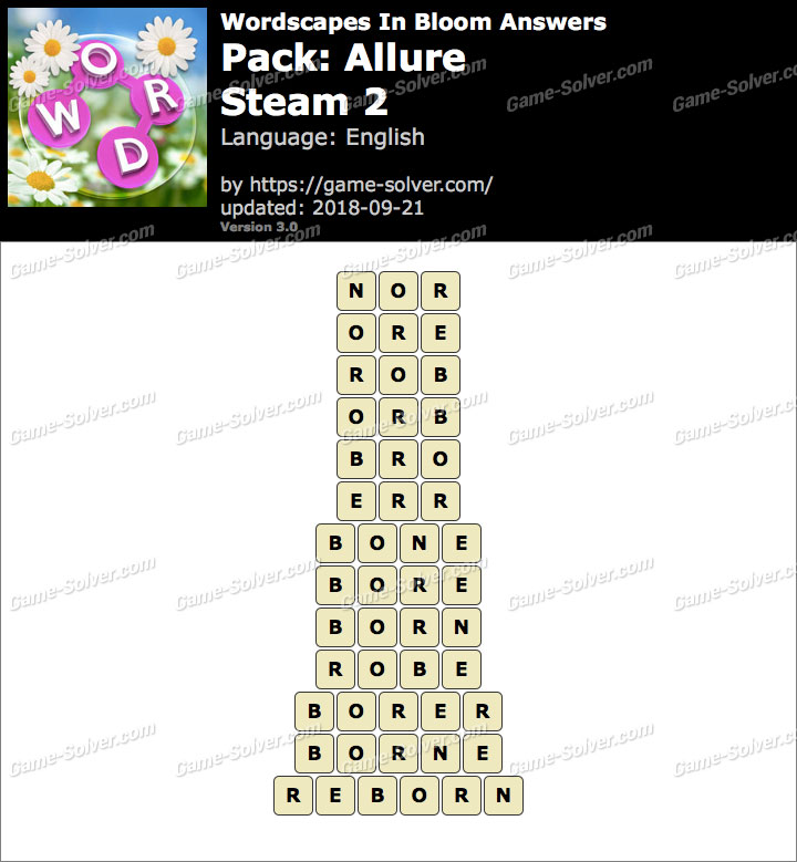 Wordscapes In Bloom Allure-Steam 2 Answers