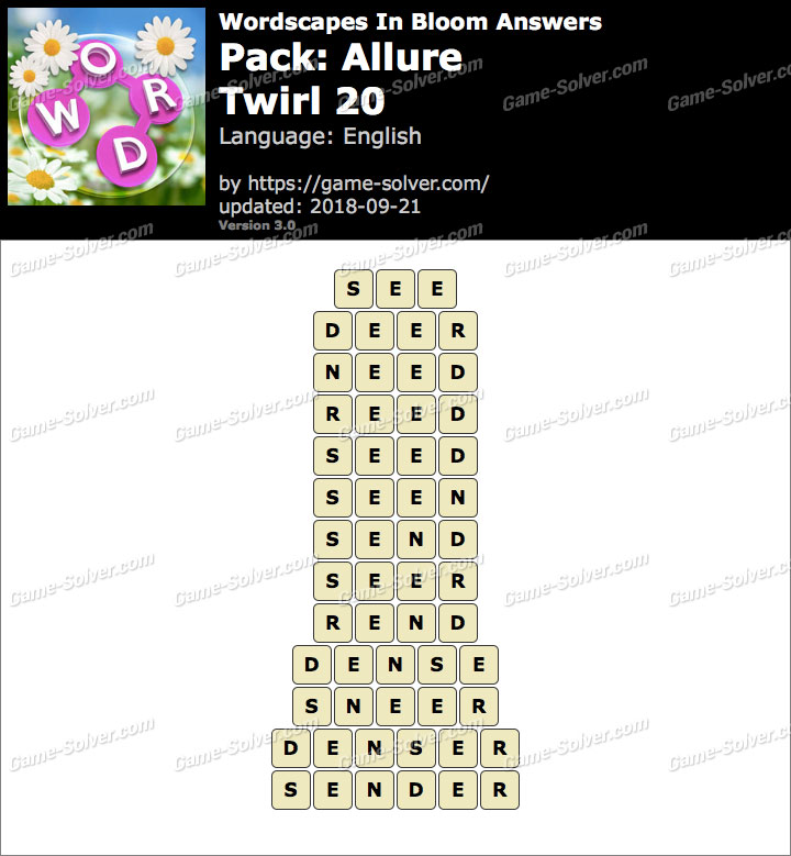 Wordscapes In Bloom Allure-Twirl 20 Answers