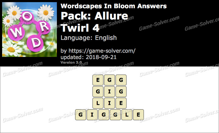 Wordscapes In Bloom Allure-Twirl 4 Answers