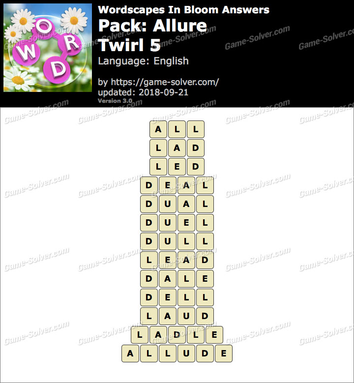 Wordscapes In Bloom Allure-Twirl 5 Answers